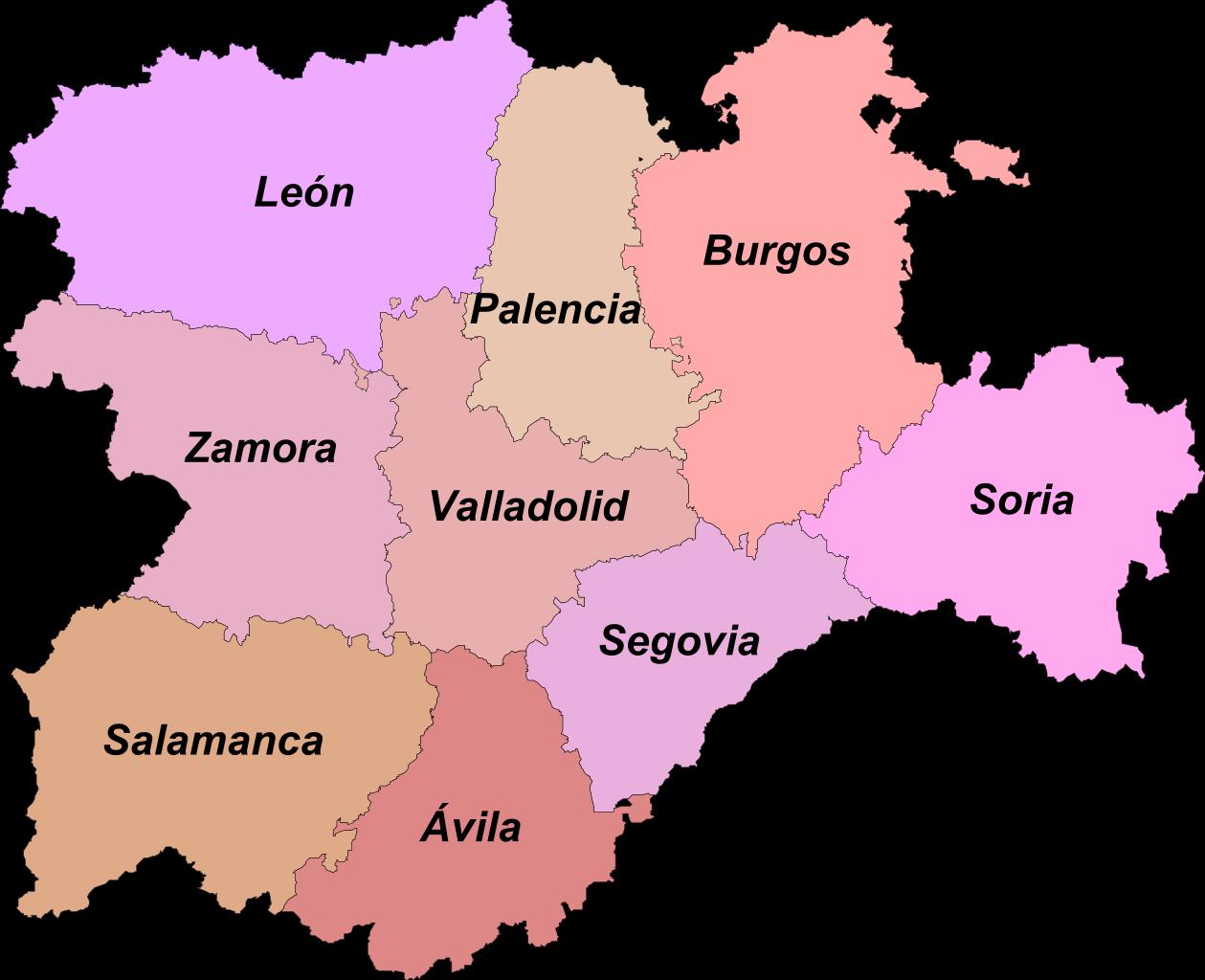 mapa provincias castilla y leon