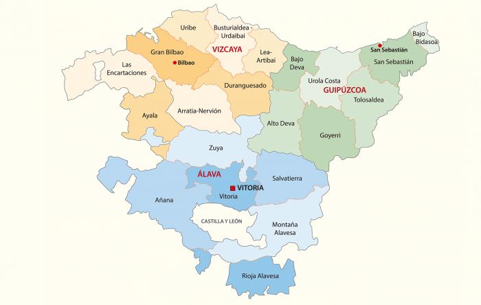 mapa provincias pais vasco