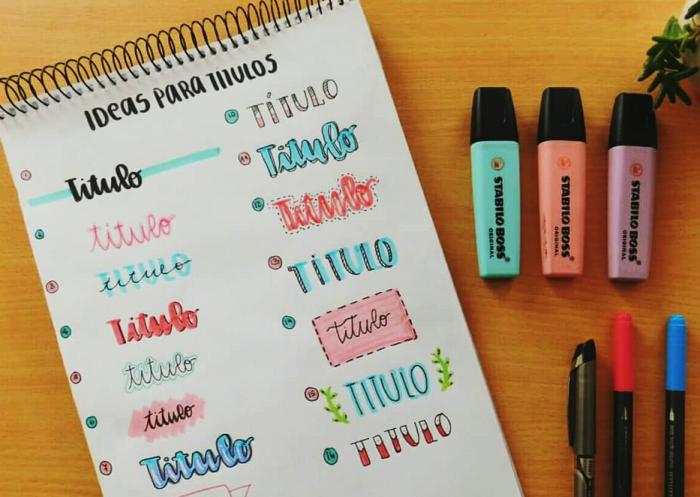 titulos con colores