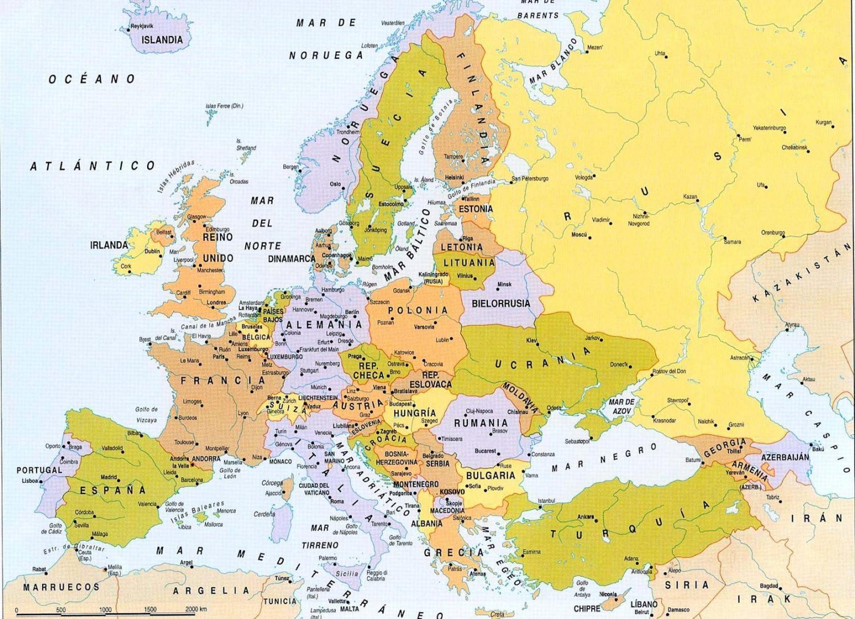 Mapa De Europa Paises Y Capitales En Español.Los 50 Paises De Europa Y Sus Capitales Mapa Incluido