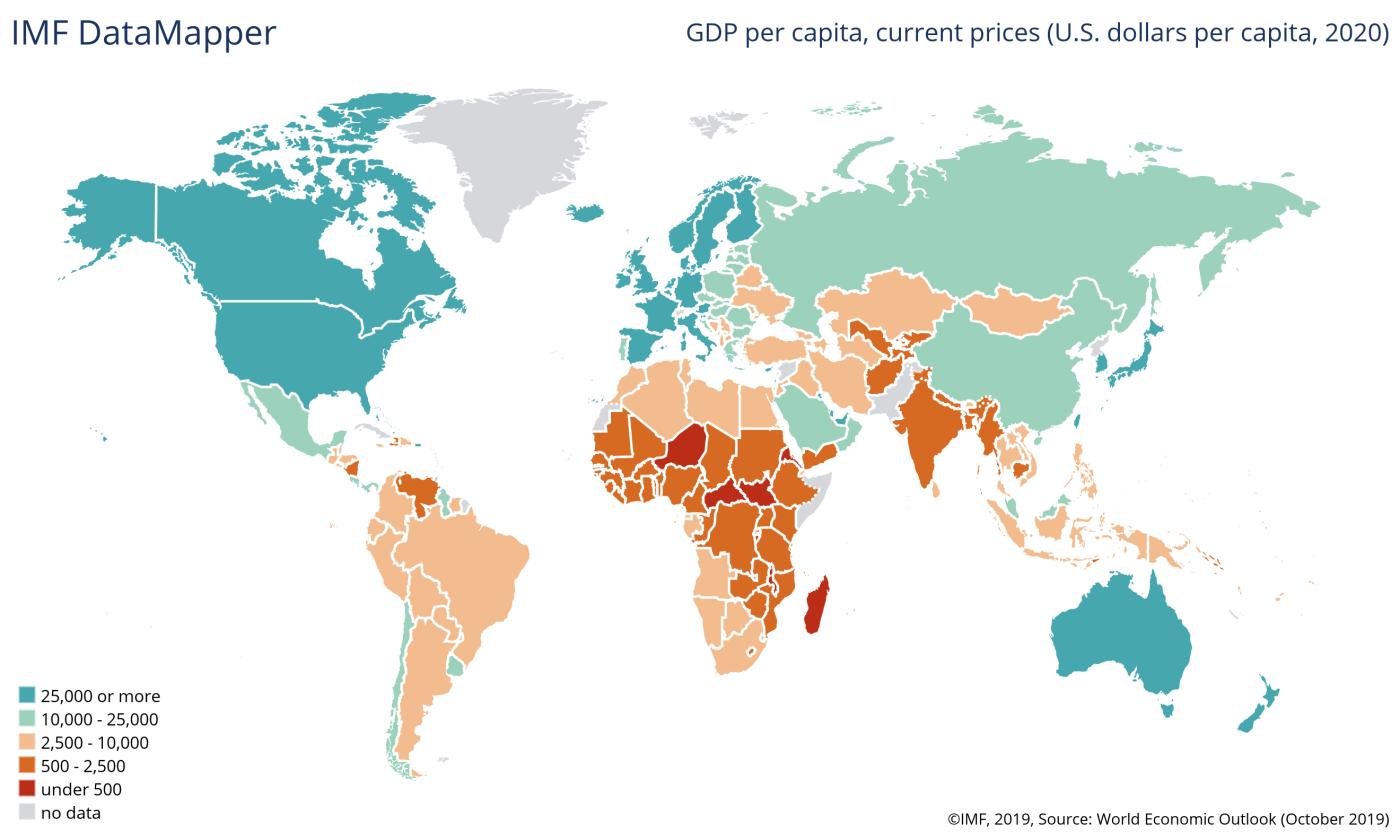mapa pib per capita mundo