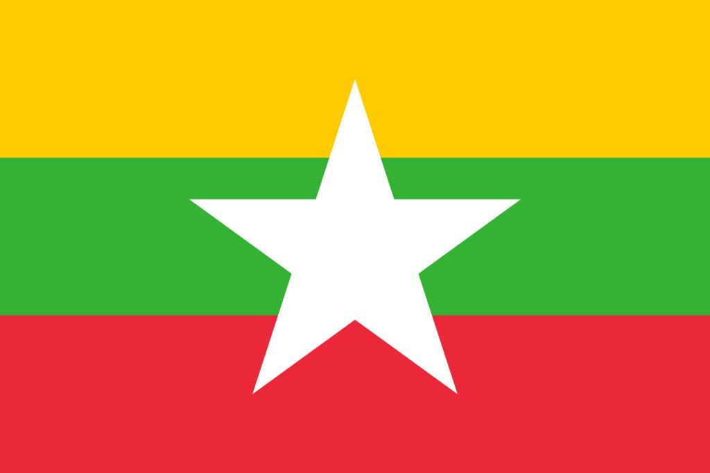 Bandera de Myanmar.